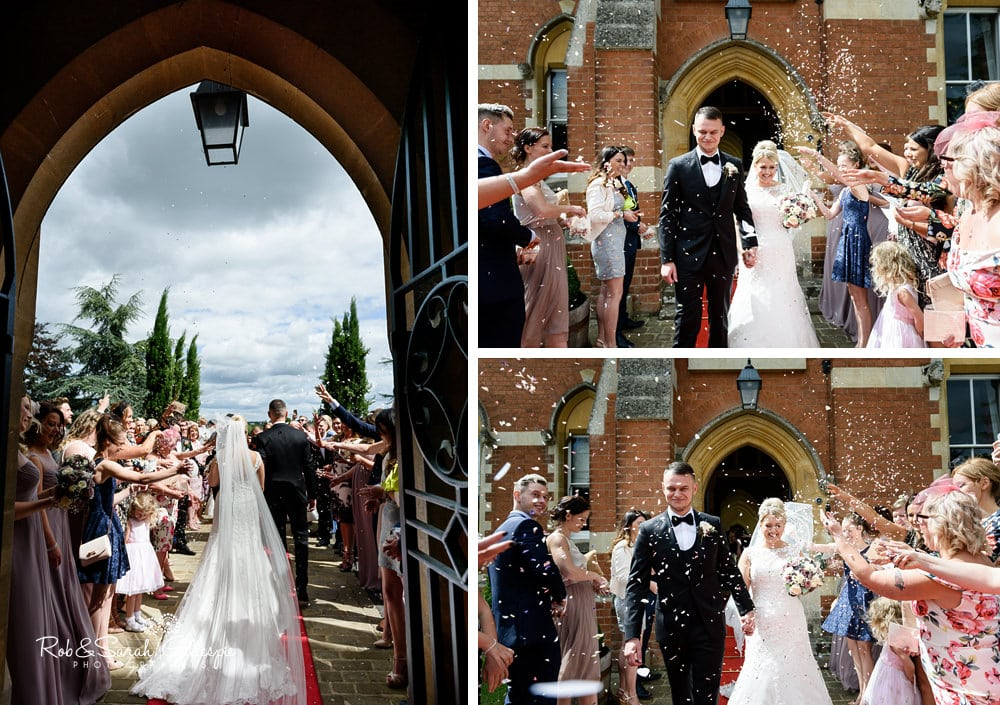 Bride and groom confetti throw at Stanbrook Abbey