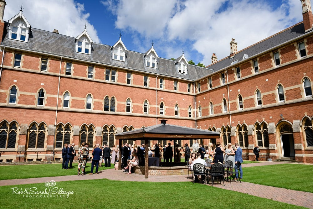 Wedding reception drinks at Stanbrook Abbey Hotel