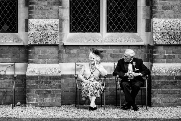 Elderly couple at Stanbrook Abbey wedding reception