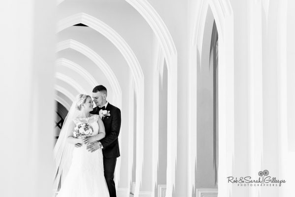 Bride and goom together at Stanbrook Abbey