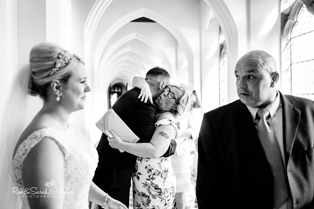 Receiving line during wedding at Stanbrook Abbey