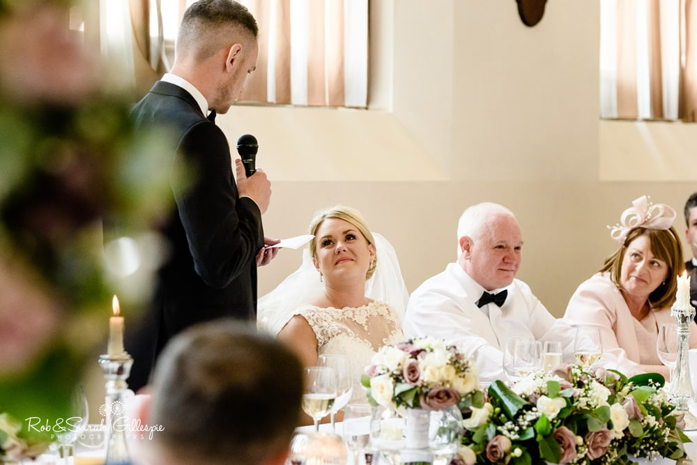 Wedding speeches in Thompson Dining Room at Stanbrook Abbey