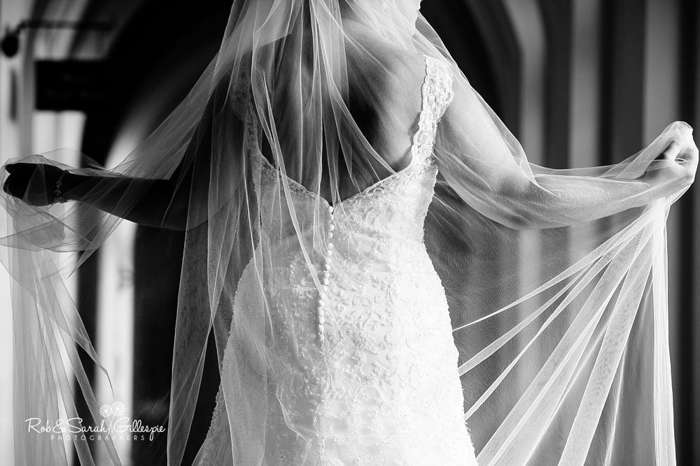 Bride's veil in beautiful light at Stanbrook Abbey