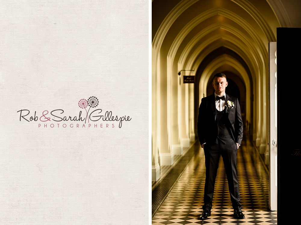 Groom stands in corridor at Stanbrook Abbey