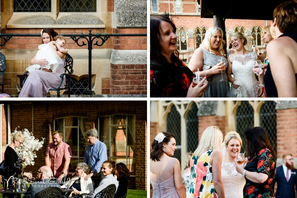Wedding guests enjoy evening reception at Stanbrook Abbey wedding