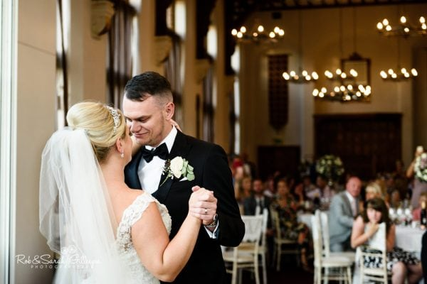 Bride and groom first dance at Stanbrook Abbey