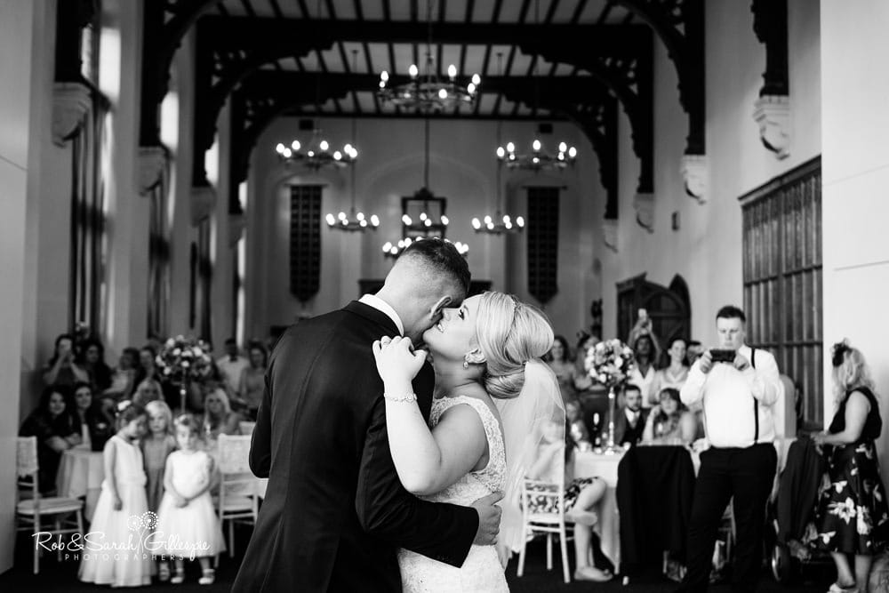 Bride and groom's first dance at Stanbrook Abbey wedding