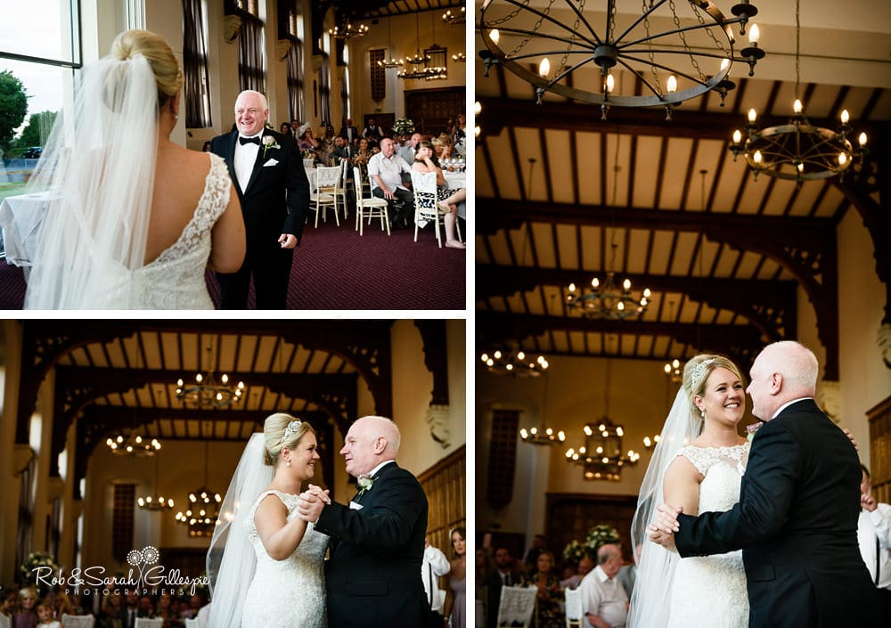 Bride and father dance at Stanbrook Abbey wedding