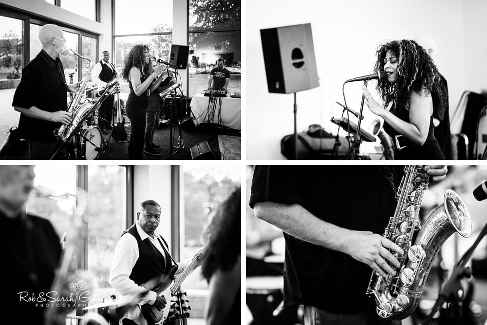 Band plays and guests dance at Stanbrook Abbey wedding reception