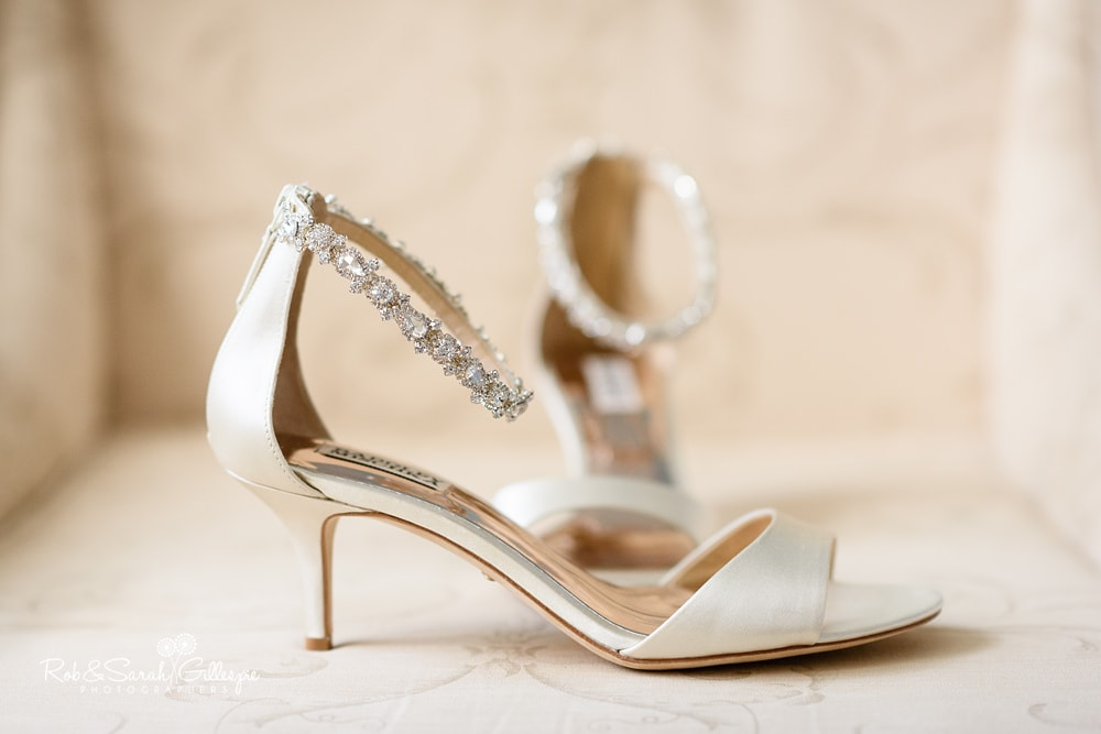 Bride's shoes at Stanbrook Abbey