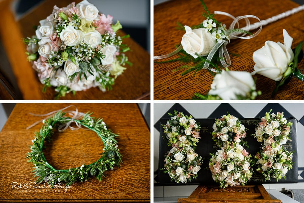 Bridal bouquet and wedding flowers at Stanbrook Abbey