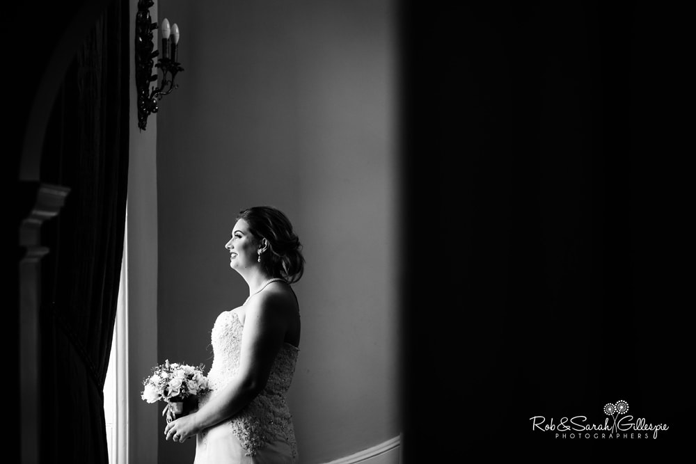 Portrait of bride in beautiful light at Stanbrook Abbey