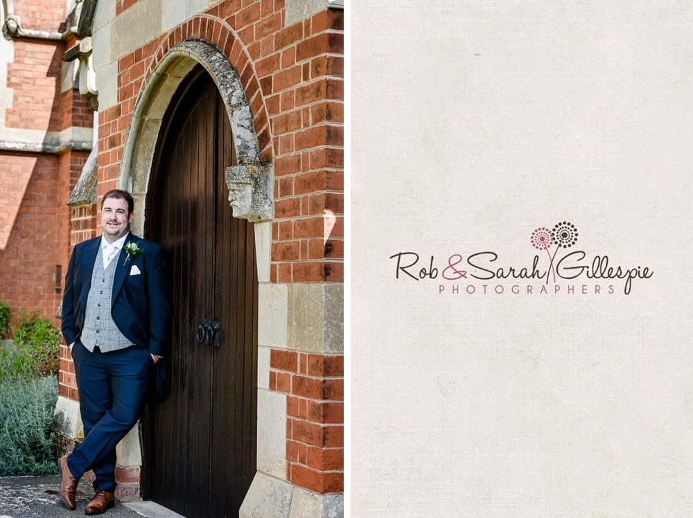 Portrait of groom in doorway at Stanbrook Abbey
