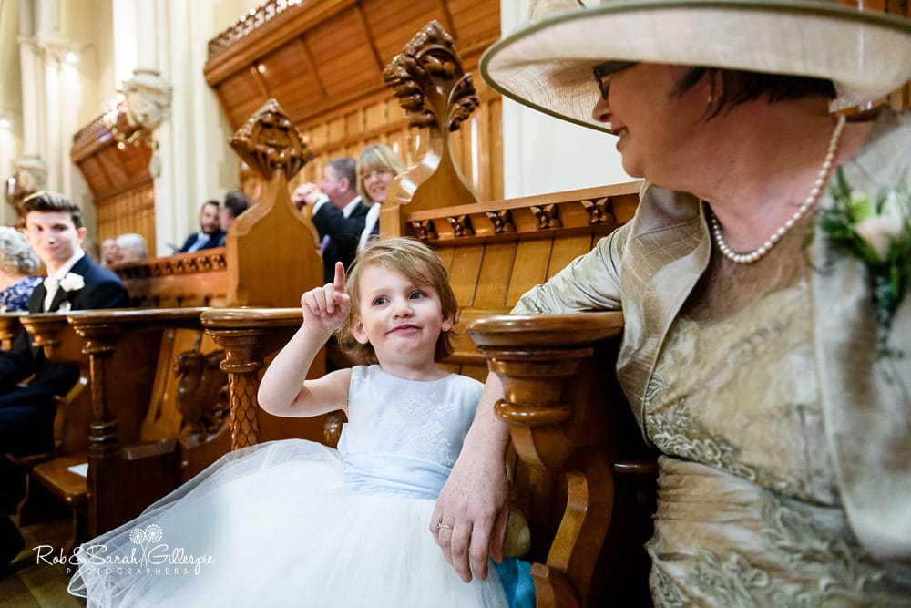Flower girl in Callow Great Hall at Stanbrook Abbey