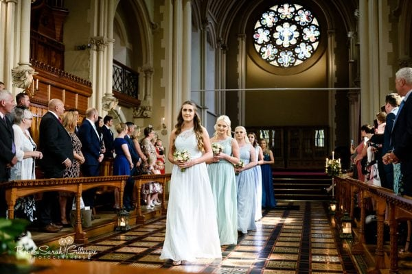 Bridesmaids in Callow Great Hall at Stanbrook Abbey