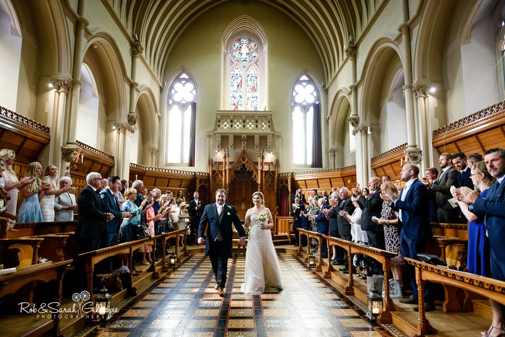 Bride and groom married in Callow Great Hall at Stanbrook Abbey
