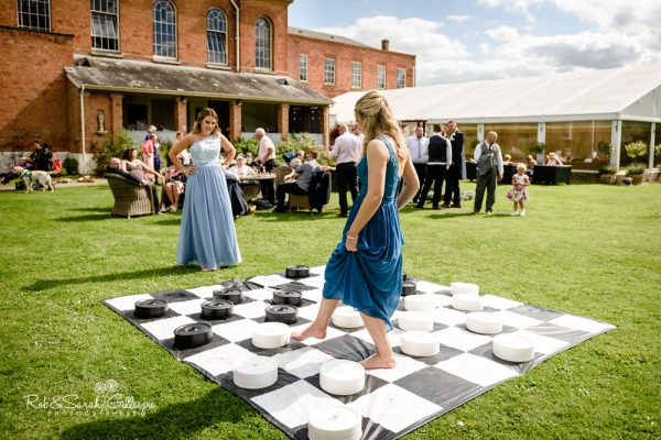 Games on lawn at Stanbrook Abbey