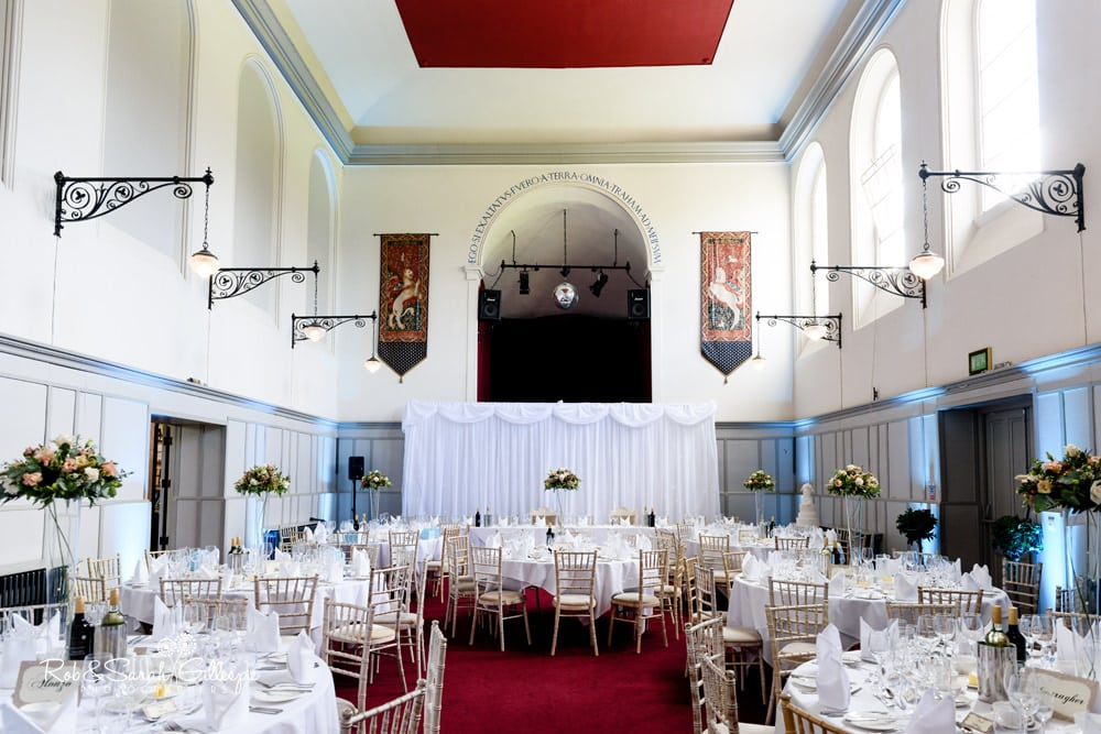 St Annes Hall at Stanbrook Abbey set up for wedding breakfast