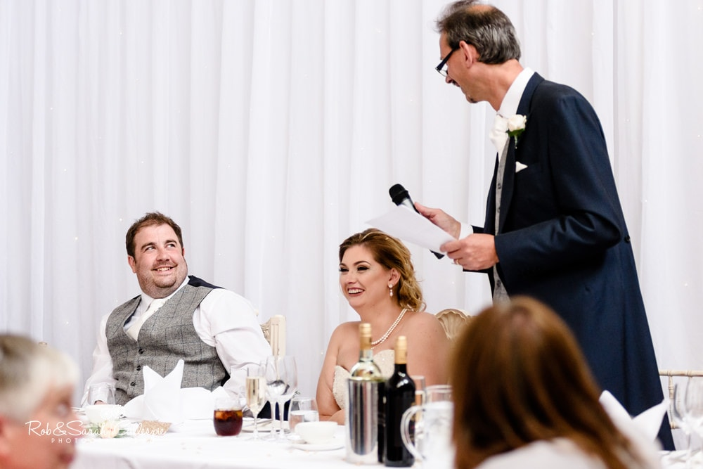 Wedding speeches in St Annes Hall at Stanbrook Abbey