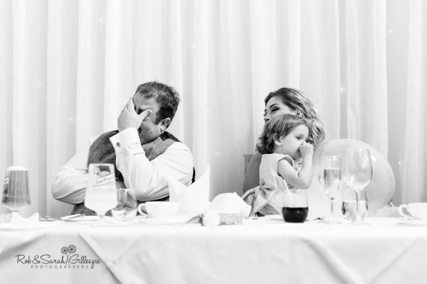 Wedding speeches at Stanbrook Abbey
