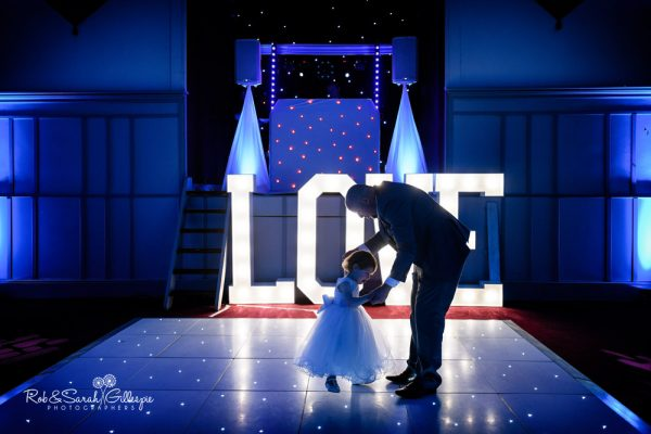 Toddler and dad on dancefloor at Stanbrook Abbey