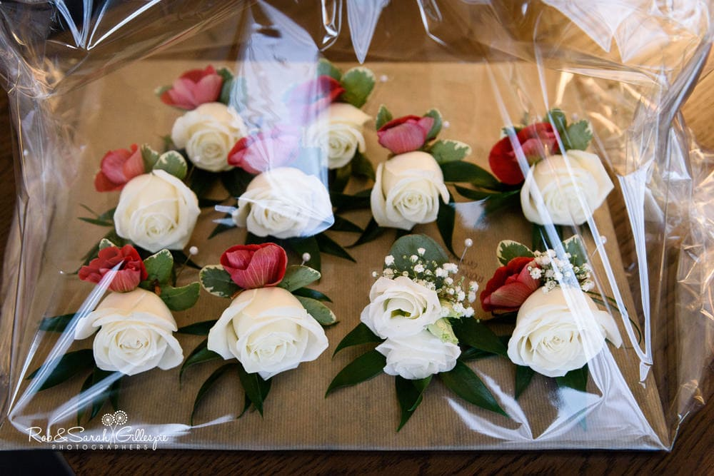 Groomsmen flowers in wrapping