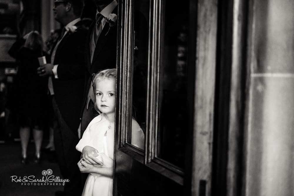 Flowergirl in doorway at Edgbaston Old Church