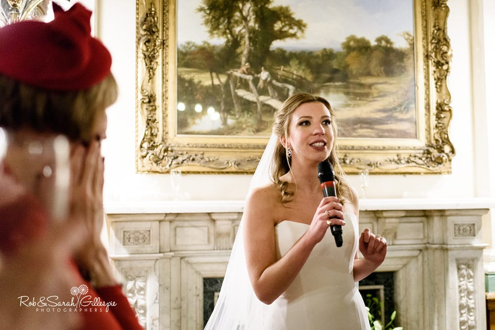Bride gives speech in Banqueting Suite