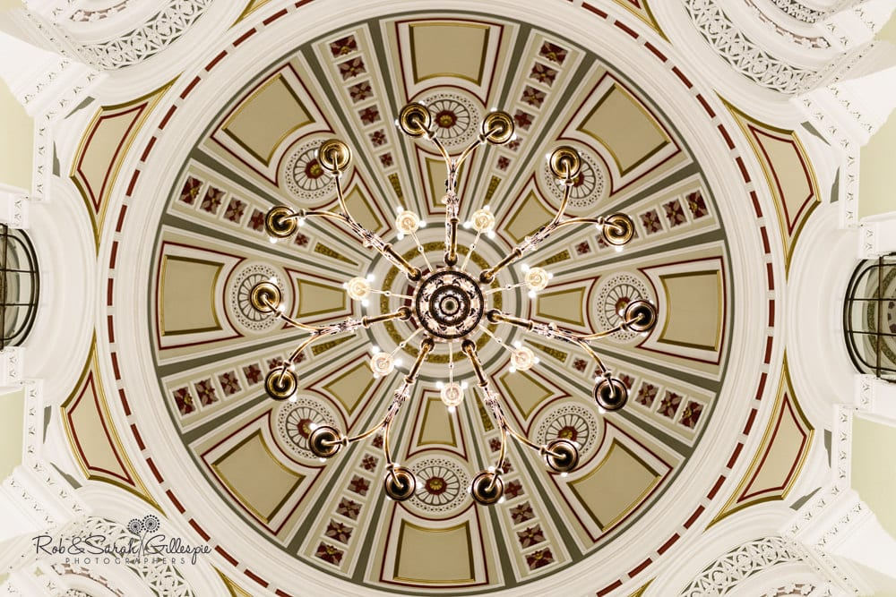 Detail of Birmingham Council House dome decoration and lighting