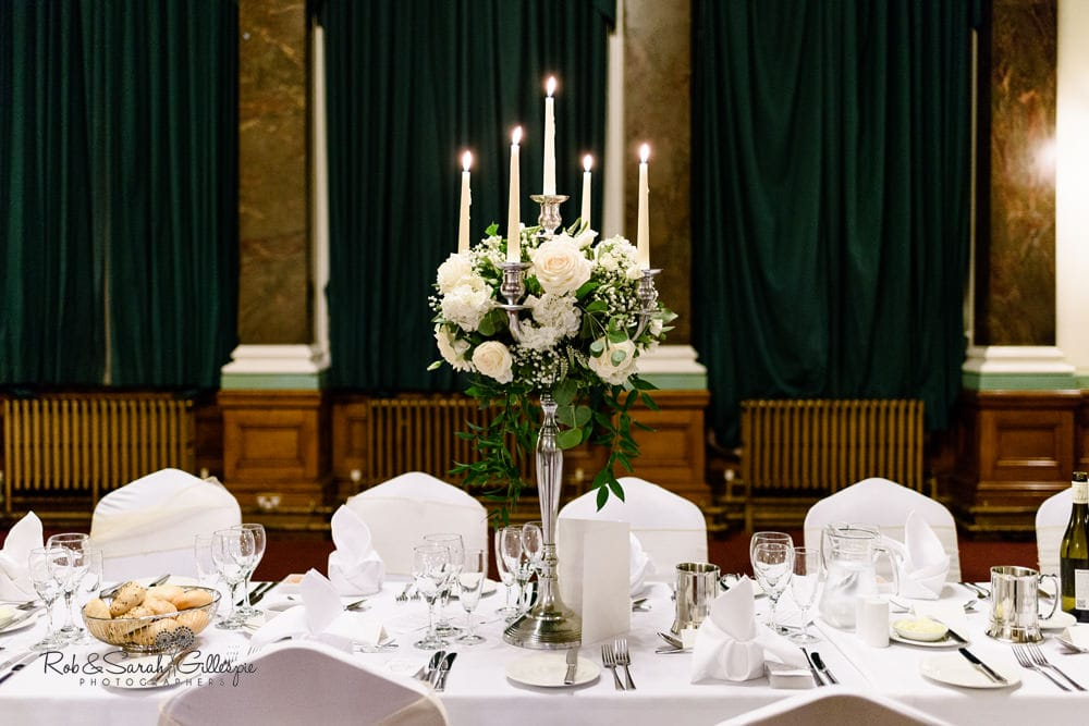 Candelabra on table in Banqueting Suite