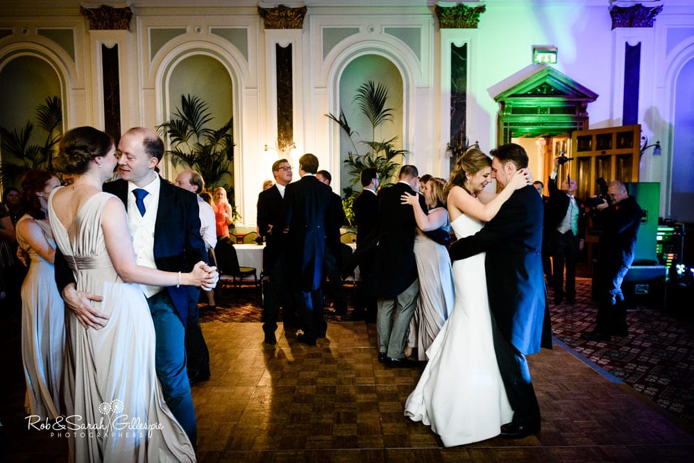 Wedding guests dancing at Birmingham Council House wedding reception