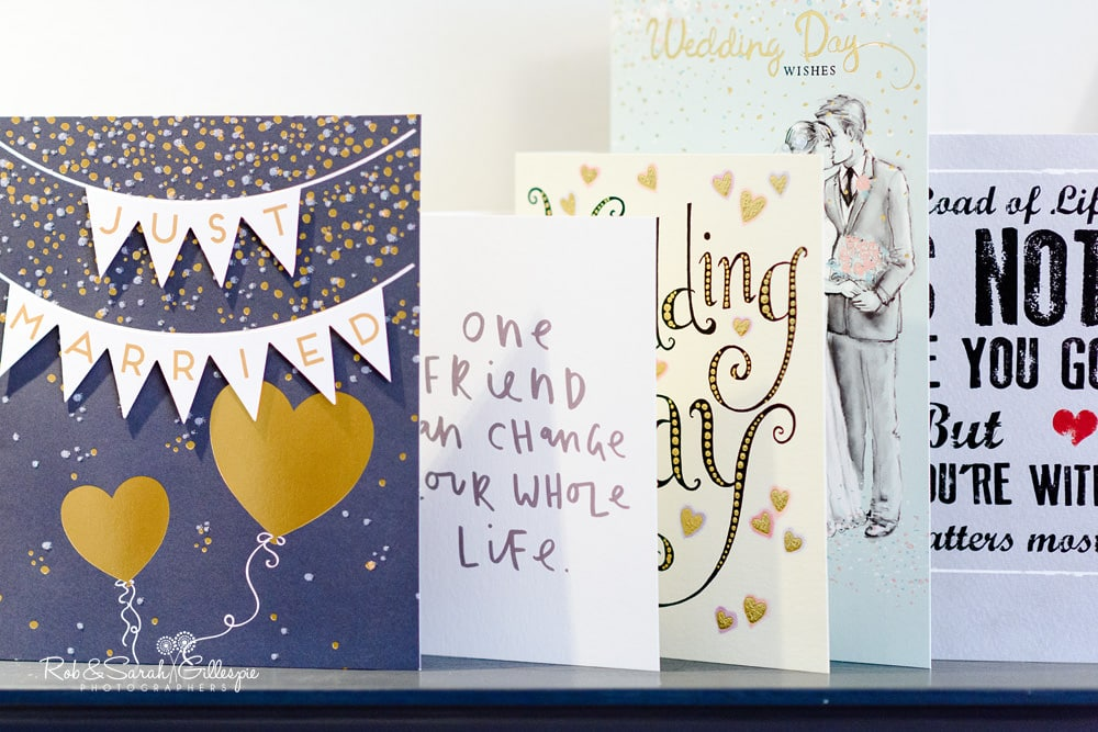 Wedding greetings cards on shelf