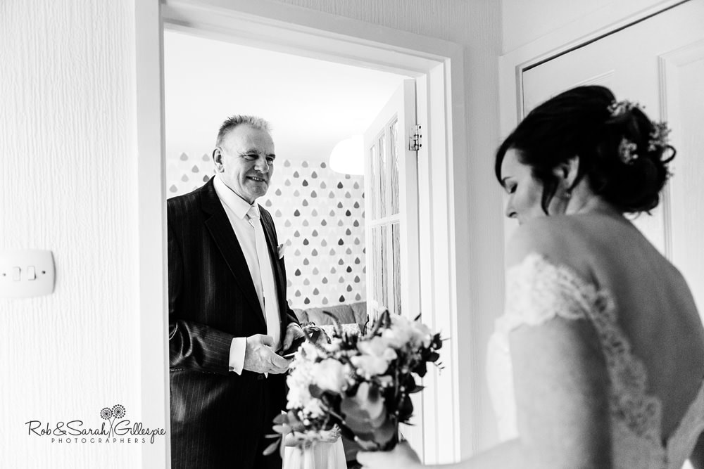 Bride's father sees her in wedding dress for the first time