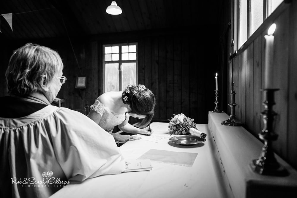 Wedding blessing in Mission Church at Avoncroft Museum
