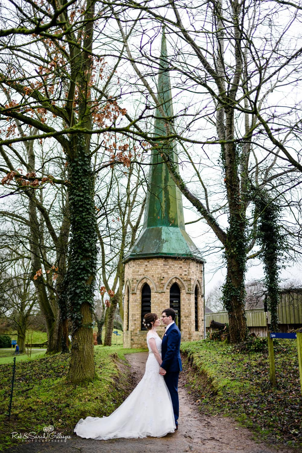 Bride and groom together at Avoncroft Museum