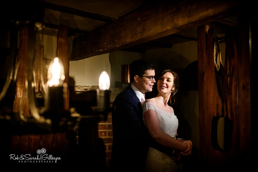 Bride and groom at The Vernon pub in Hanbury
