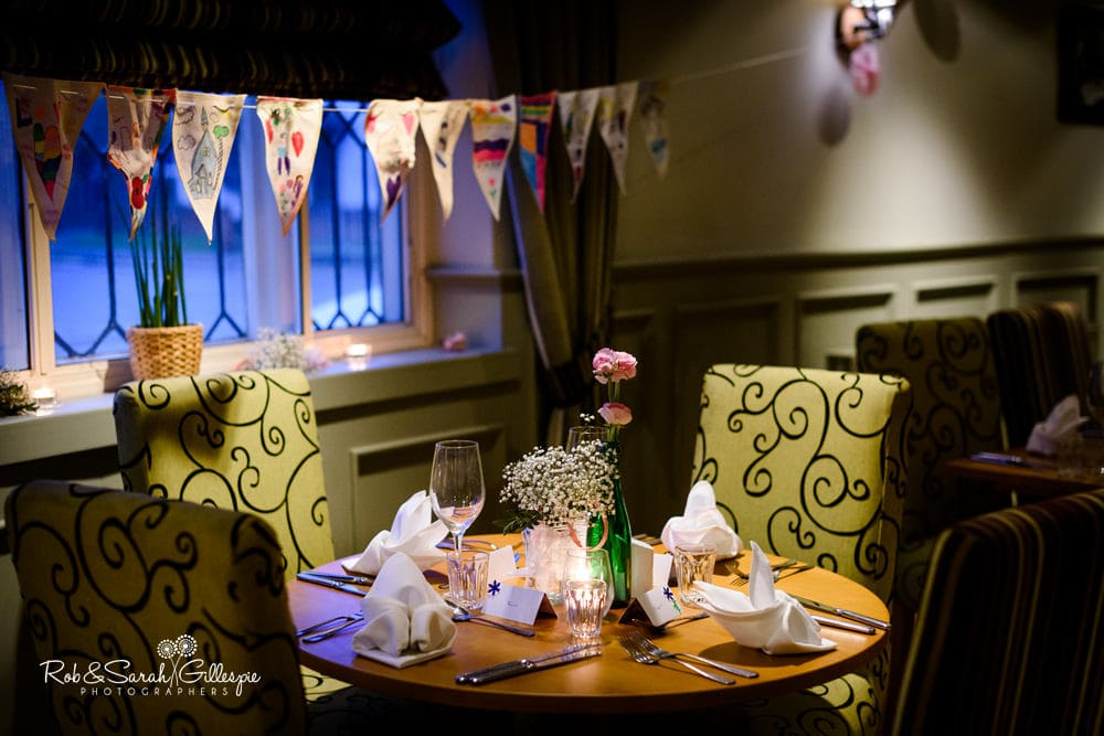 The Vernon pub in Hanbury, decorated for wedding meal