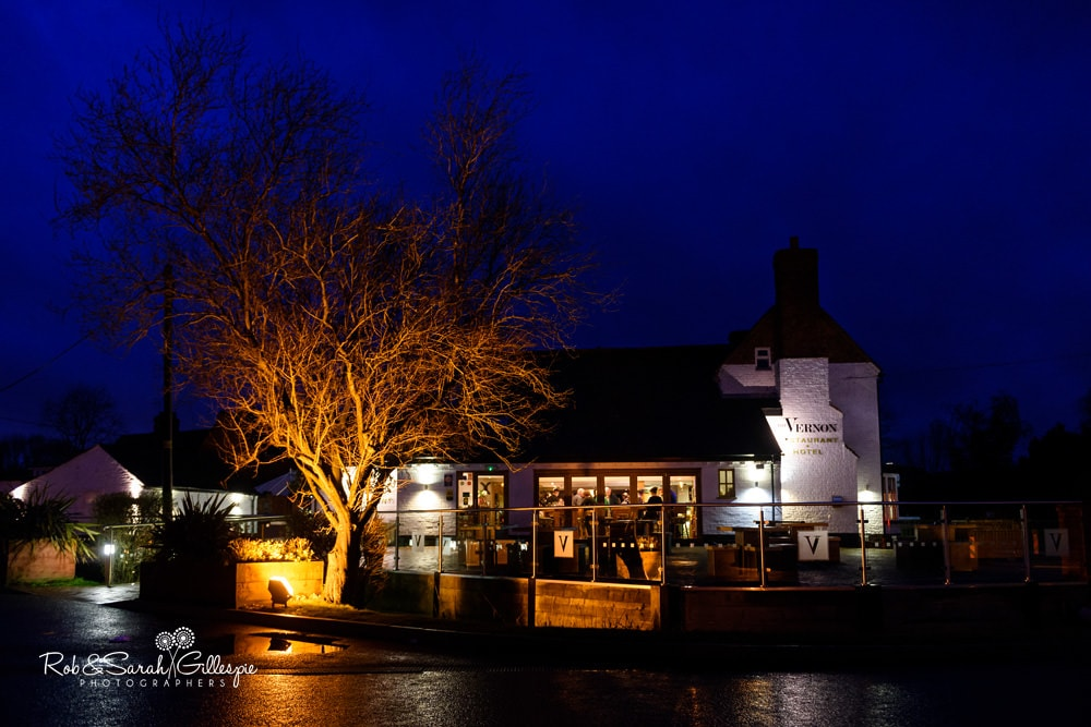 The Vernon pub in Hanbury, at night