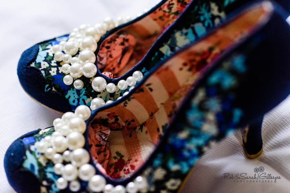 Colourful wedding shoes with pearl decoration