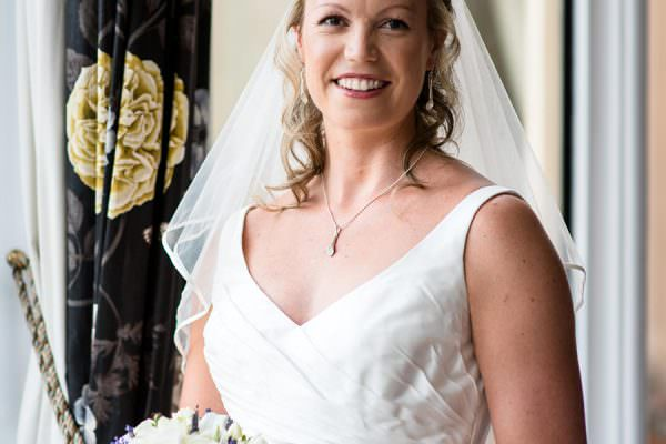 Portrait of bride at Welcombe Hotel in Warwickshire