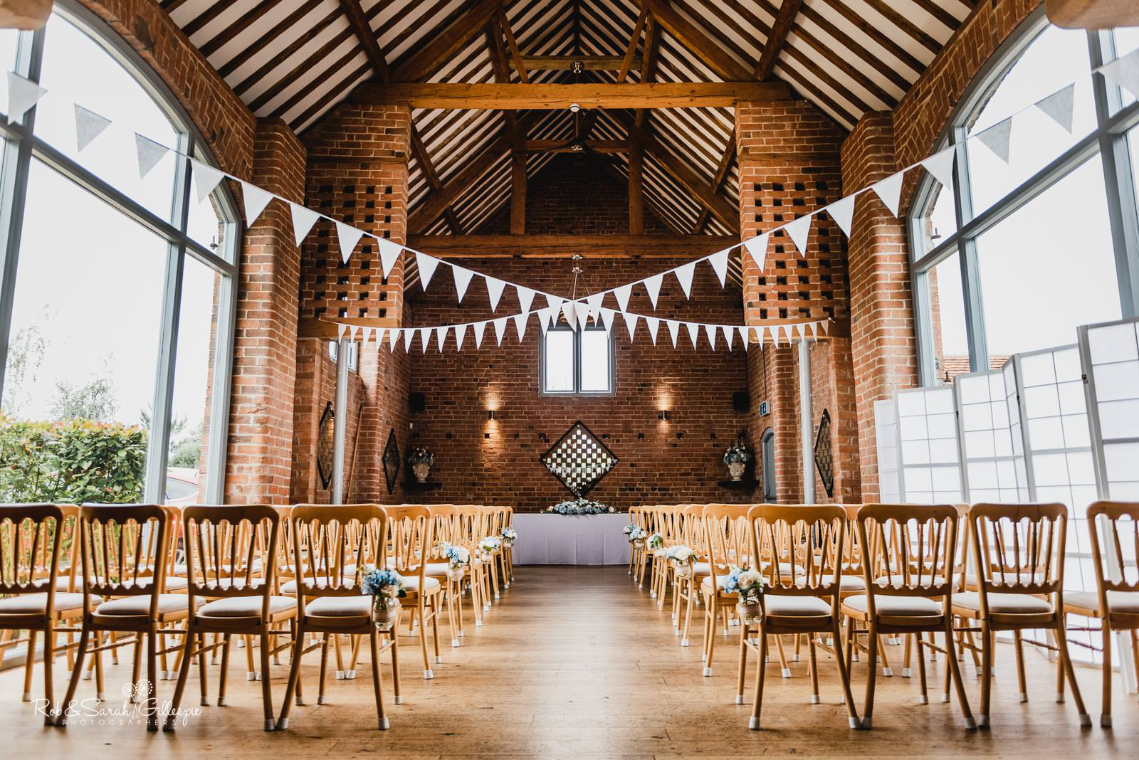 Swallows Nest Barn set up for wedding ceremony