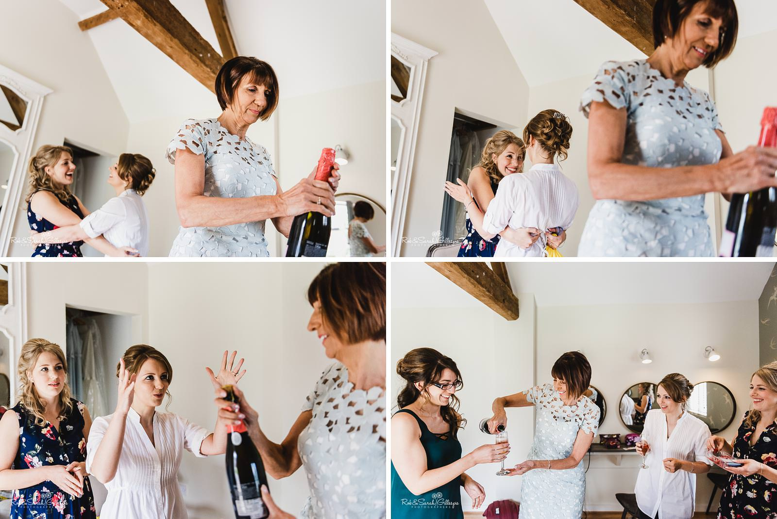 Bride and bridesmaids prepare for weding at Swallows Nest Barn