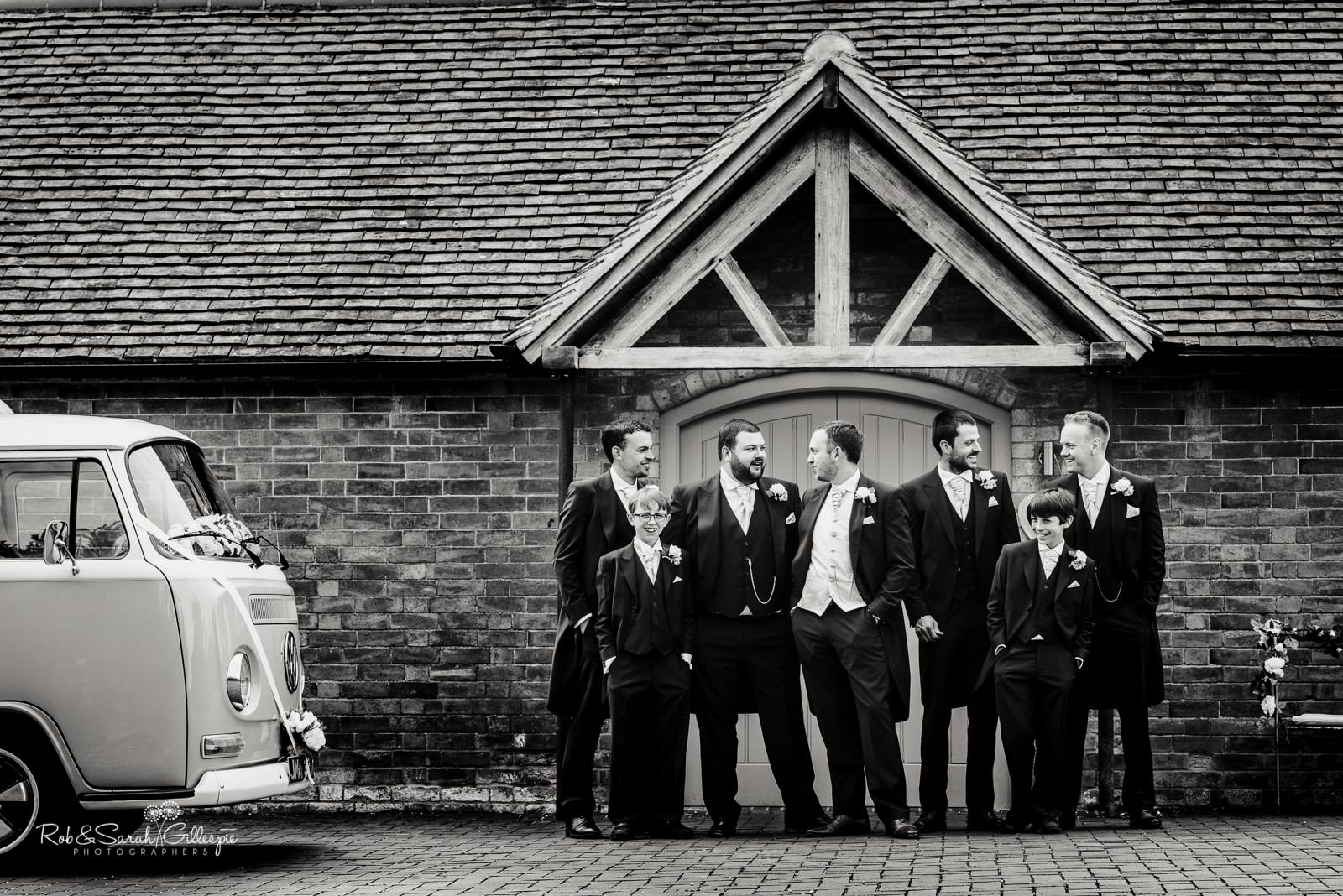 Groom and groomsmen at Swallows Nest Barn wedding
