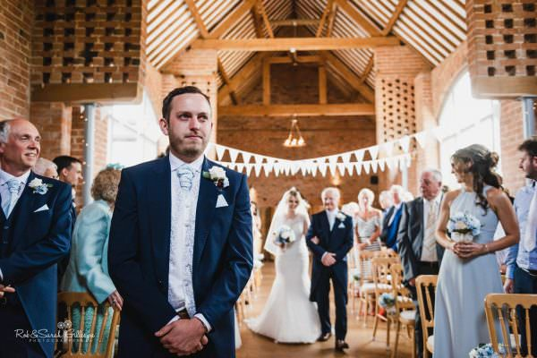 Wedding ceremony at Swallows Nest Barn