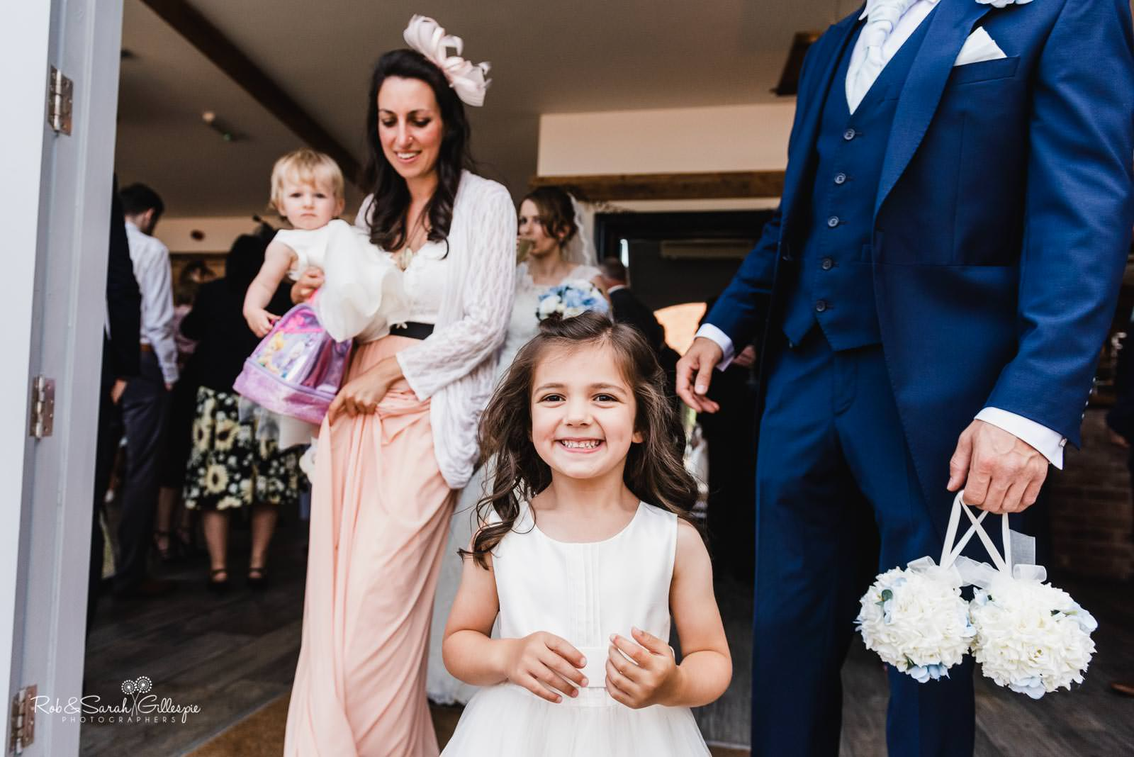 Flowergirl at Swallows Nest Barn wedding