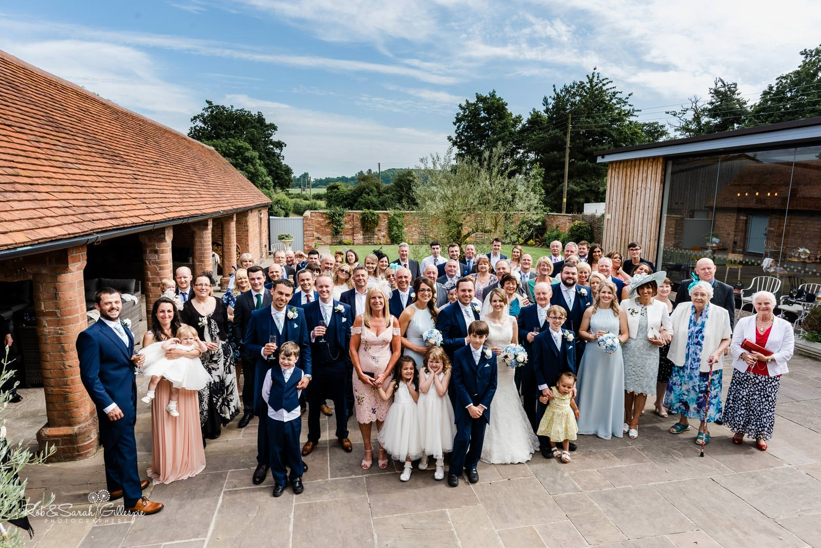 Group photo at Swallows Nest Barn wedding