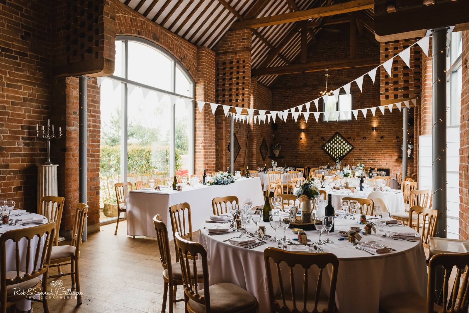 Swallows Nest Barn set up for wedding breakfast