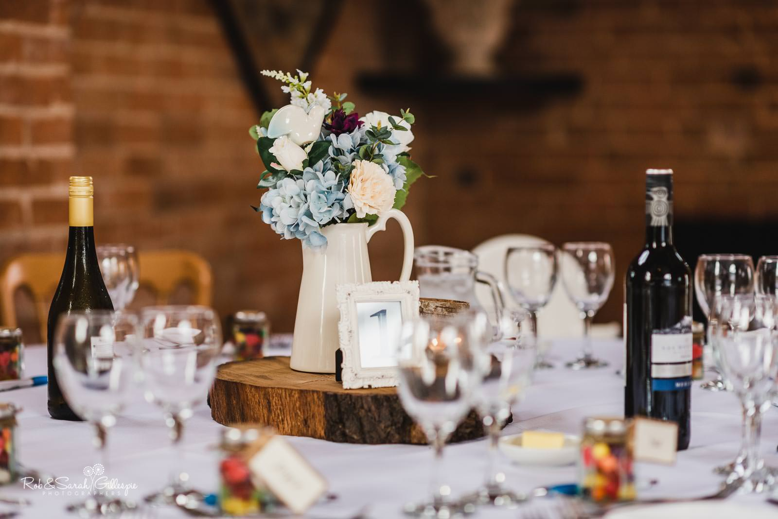 Wedding breakfast table details at Swallows Nest Barn