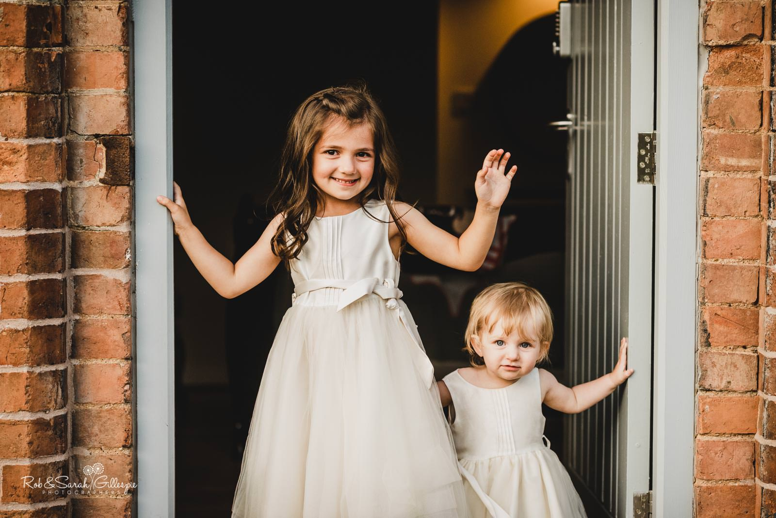 Flower girls at Swallows Nest Barn wedding