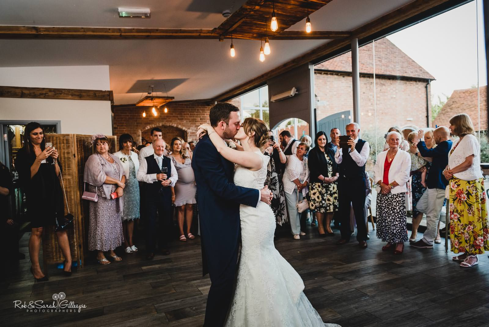 Bride and groom first dance at Swallows Nest Barn